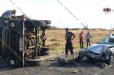 Արագածոտնի մարզում փայտով բարձված ЗИЛ-ը, բախվելով Opel-ին, կողաշրջվել է․ կա վիրավոր (ֆոտո)