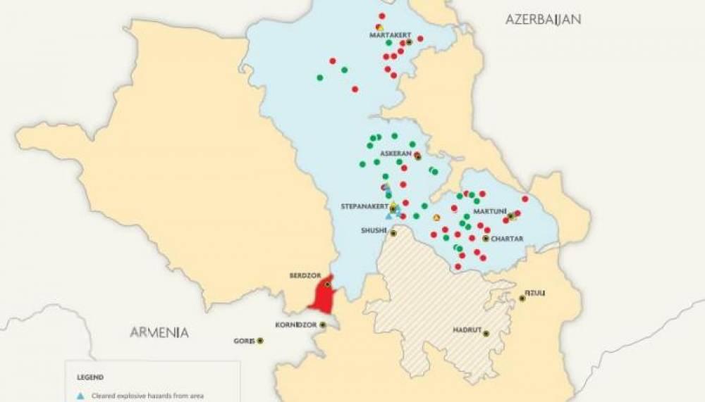 Սա Ադրբեջանի ռազմական հանցագործություններն ապացուցող քարտեզ է․Զինամթերքի մի մասը չի պայթել, իսկ ավելի մեծ մասը պայթել է